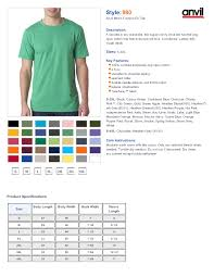 Anvil T Shirts Size Chart Anvil 980 Size Chart Best Picture Of Chart Anyimage Org