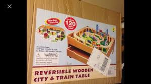 wooden reversible train table and 120 pieces train set