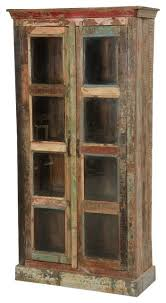 burke rustic reclaimed wood glass door tall display cabinet farmhouse china cabinets and hutches by sierra living concepts
