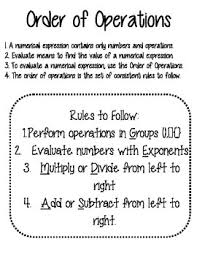 Order Of Operations Anchor Chart Order Of Operation Anchor Chart Worksheets Teaching