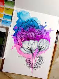 мандала цветы тюльпан космос акварель эскиз тату мои эскизы