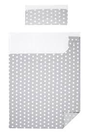 3 piece bedding set of sheets for cot bed polka dots collection white