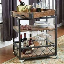 grove place distressed cocoa bar cart with wine glass storage rack lighted hanging n