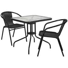 outdoor metal chair. 28-inch Square Glass Metal Table With Rattan Edging And 2 Stack Chairs Outdoor Chair