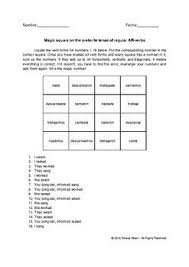 Cantar Conjugation Chart Magic Square On Spanish Preterite Tense Of Regular Ar Verbs