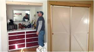 barn door closet how to make bypass doors into sliding faux featured on
