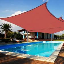 2pcs 16 x 16 square outdoor patio square sun sail shade canopy cover red