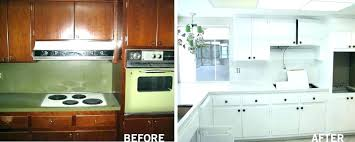 painting laminate cabinets before and after refinishing kitchen restoration c
