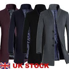 details about trench coat fashion men s jacket winter warm wool coat outwear long overcoat uk