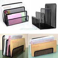 black metal mesh desk organizer desktop letter sorter mail tray file organiser office home bookends book