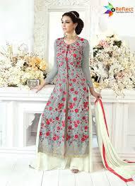 Front Open Salwar Designs Sensuous Gray Faux Georgette Designer Front Open Salwar Suit