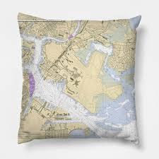 Nautical Chart Pillows Boston Harbor Nautical Chart