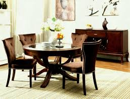 round vintage glass top dining tables with wood base and brown leather tufted chairs ideas