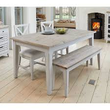 Grey Painted Extending Kitchen Or Dining Table With Limed Wood Top