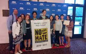 "abington junior high school student wins first place in no place   junior high school 8th grade student gabrielle oliveira who won first prize in the anti defamation league s 2017 ""no place for hate"" essay contest"