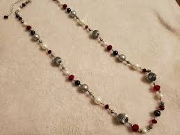 The Find Premier Designs Premier Designs Hot Hot Hot Necklace Silvertone Red Faux Grey White Pearls