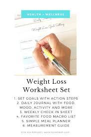 Weight Loss Worksheets Pin On Vita Vie Retreat Shop