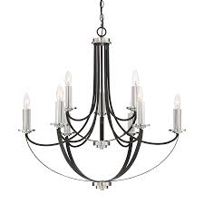 quoizel alana 32 in 8 light rustic black wrought iron candle chandelier