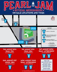 Pearl Jam Wrigley Field Official Merch Schedule