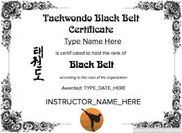 martial arts certificate template karate black belt certificate template