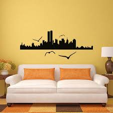 innovative buildings with flying birds wall decal