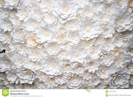White Paper Flower Wall A Wall Of White Paper Flowers Stock Photo Image Of Background