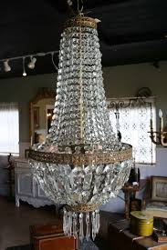 french 19th century regency sac a perles or basket crystal and bronze chandelier for