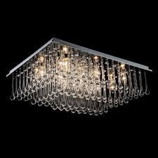 4 light 23 6 wide clear crystal raindrops falling rectangular flush mount lighting