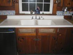 vintage refinished double drainboard cast iron porcelain sink