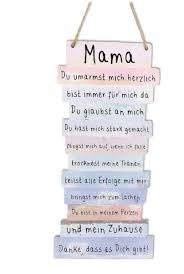 Amazonde Schild Plankenschild Bild Danke Mama Sprüche 15 X 32 Cm
