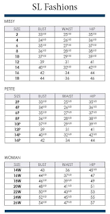 Sl Fashions Size Charts Including Plus Via Dillards Com In