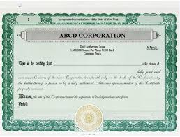 Stock Certificats Stock Certificates Custom Stock Certificates Single Class