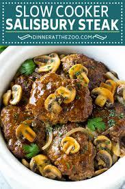 slow cooker salisbury steak dinner at