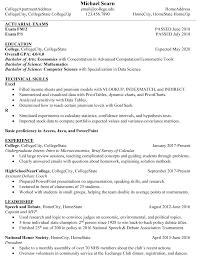 Summer Internship Resume Third Year Student Summer 2019 Internship Resume Actuary