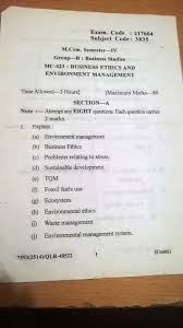 business ethics and enviornment management exam peper of m com th last year exam paper of business ethics and enviornment management