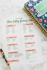How To Make A Grocery List Free Printable Clean Eating Grocery List Reflections Of