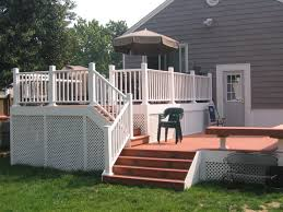 white deck with steps patio
