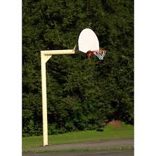 a portable basketball goal can be converted to an in ground setup