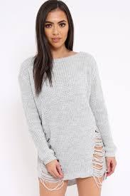 Light Grey Jumper Dress Light Grey Distressed Jumper Dress Kim