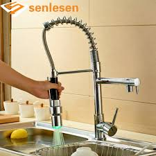 Wholesale And Retail Luxury Chrome Brass Kitchen Faucet LED Spout