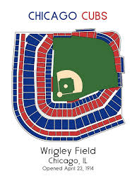 Wrigley Stadium Seating Chart Chicago Cubs Mlb Stadium Map Decor Man Cave Wrigley Field Ballpark Map Baseball Stadium Map Gift For Him Stadium Seating Chart