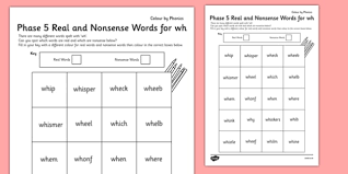 Games, worksheets and tools to support the teaching of phonics, based on letter and sounds: Phase 5 Wh Color By Phoneme Real And Nonsense Words