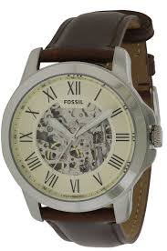 fossil grant automatic beige skeleton dial me3099 mens watch fossil grant automatic leather mens watch me3099 picture 1 of 4