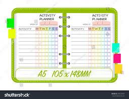 Weekly Activities Planner Template Organization Chart Stock Vector