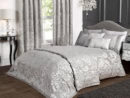 luxury charleston duvet set with 2 free case s in grey