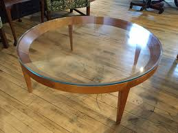 42 round wood coffee table with glass top