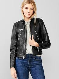 women s fashion outerwear jackets er jackets black leather er jackets gap leather moto jacket