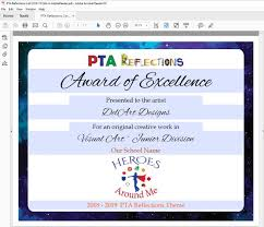 Award Of Excellence Certificate Template Delectable PTA Reflections Certificate 4848 Digital Printable PDF Etsy