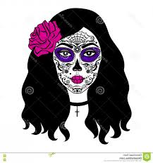 drawing hair with skull vector stock ilration sugar skull makeup mexican day dead