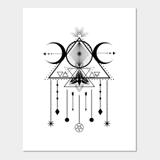 Wiccan Symbols And Meanings Chart Wicca Sacred Geometry Moon Symbol And Dreamcatcher Talisman